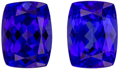 Super Fine Gem 8 x 6 mm Tanzanite Loose Genuine Gemstone Pair in Cushion Cut, Intense Blue, 3.74 carats