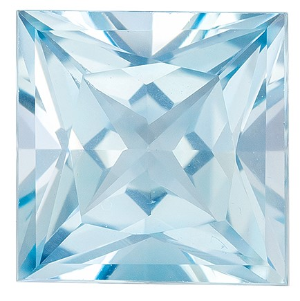 Super Fine Gem!  Blue Aqua Genuine Gemstone, 1.54 carats, Princess Shape, 7 mm