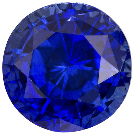 Super Fine Gem Blue Sapphire Gem in Large Round Cut, Open Rich Blue Color, 8.4 mm, 3.15 carats