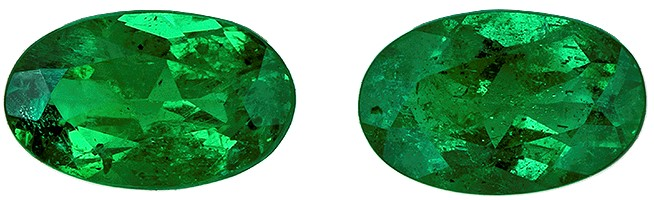 Low Price on Top Gem  Green Emerald Genuine Gemstone, 0.44 carats, Oval Shape, 5 x 3 mm Matching Pair