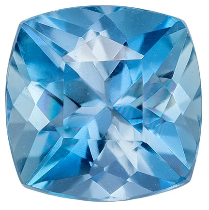 Super Fine Gem, Great Deal  Blue Aqua Genuine Gemstone, 0.6 carats, Cushion Shape, 5.1 mm