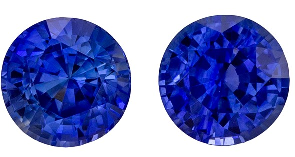 Super Fine Gem, Great Deal Blue Sapphire Genuine Gemstone, 0.96 carats, Round Shape, 4.5 mm Matching Pair
