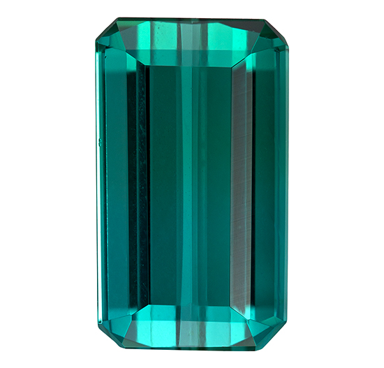 Super Fine Gem! Blue Green Tourmaline Genuine Gemstone, 3.57 carats, Emerald Shape, 11.4 x 6.6 mm