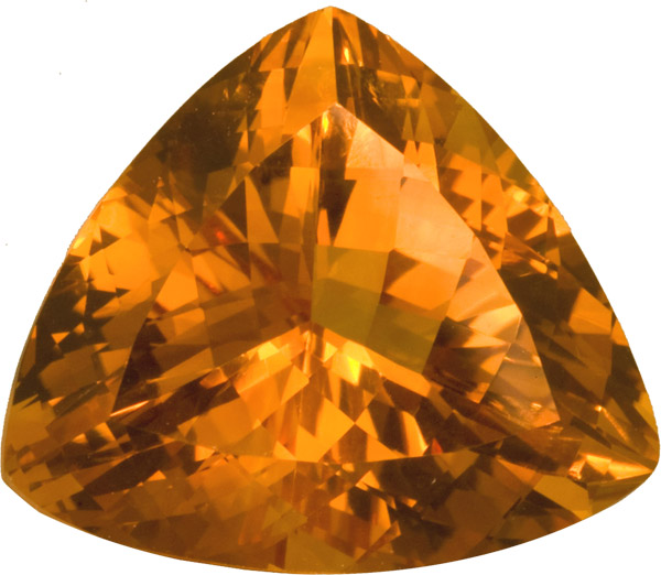 Super Fire in Citrine Loose Gemstone  in Trillion German Cut, Intense Golden Yellow Color in 23.0 x 20.7 mm, 26.98 carats