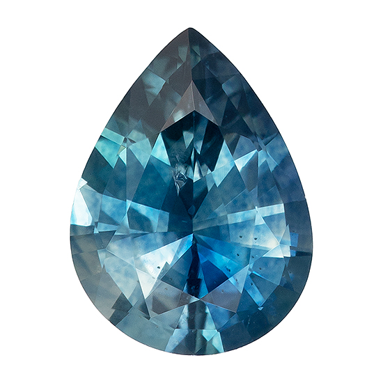 Super Gem - Extraordinary Fine  Blue Green Sapphire Genuine Gemstone, 1.04 carats, Pear Shape, 7.4 x 5.5 mm