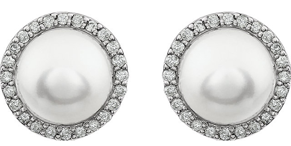 Super Glam 8-8.5mm Pearl Button Halo Earrings in 14k Gold - 1/4ct Diamond Accents - Metal Type Options