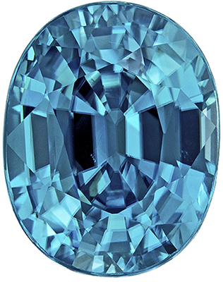 Super Great Blue Zircon Genuine Gem in Oval Cut, 3.86 carats, Rich Teal Blue, 9.4 x 7.4 mm