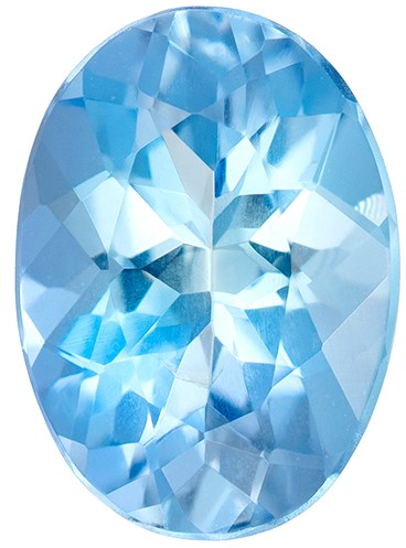 Super Great Buy  Blue Aqua Genuine Gemstone, 0.73 carats, Oval Shape, 7.3 x 5.3 mm