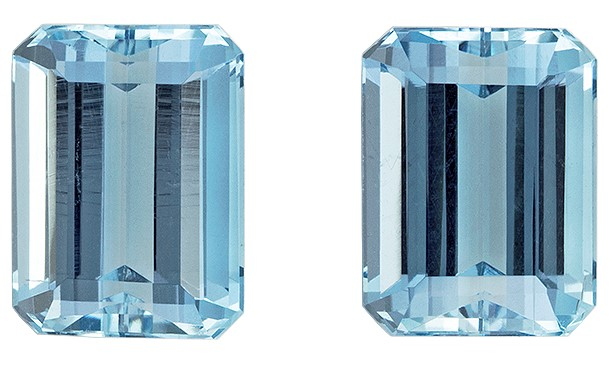 Super Great Buy  Blue Aqua Genuine Gemstone, 2.28 carats, Emerald Shape, 7.1 x 5.3 mm Matching Pair