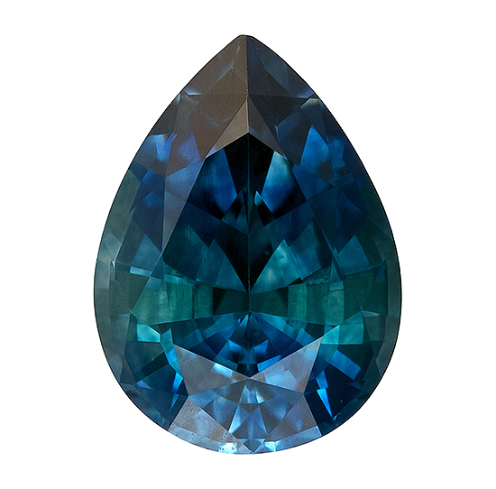 Super Great Buy  Blue Green Sapphire Genuine Gemstone, 1.16 carats, Pear Shape, 7.3 x 5.4 mm