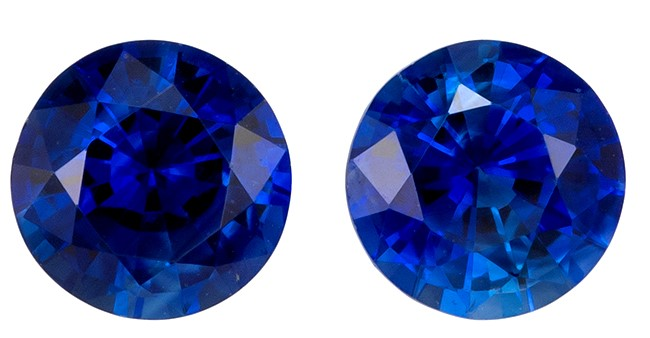 Super Great Buy  Blue Sapphire Genuine Gemstone, 0.65 carats, Round Shape, 4 mm Matching Pair