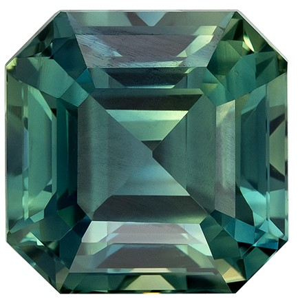 Super Great Buy on Asscher Cut Gorgeous Blue Green Sapphire Gemstone, 3.11 carats, 7.3 x 7.3 mm , Top Gem Material