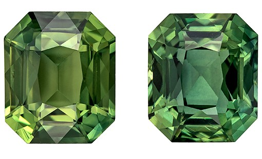Super Great Buy on Octagon  Cut Natural Blue Green Sapphire Gemstones, 4.24 carats, 7.5 x 6.4 mm Matching Pair, Such Color