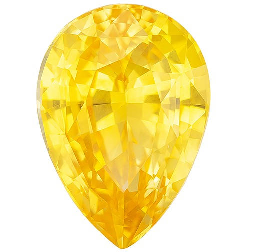Super Great Buy on  Pear Cut Genuine Yellow Sapphire Gemstone, 3.69 carats, 11.1 x 7.8 mm , Top Gem Material