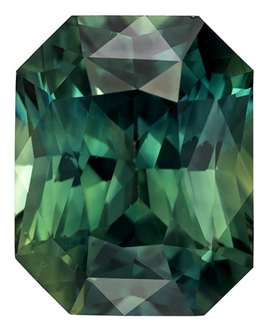 Super Great Buy on  Radiant Cut Gorgeous Blue Green Sapphire Gemstone, 3.64 carats, 9.3 x 7.5 mm , Fantastic Cutting