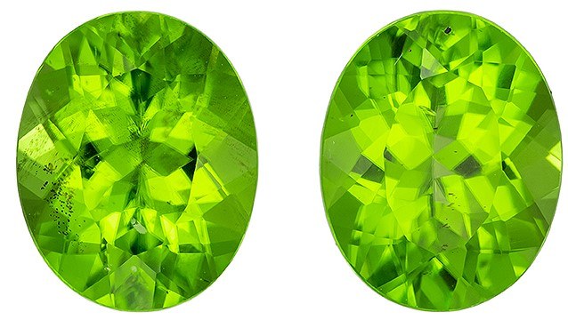 Great Buy on This Stone  Green Peridot Genuine Gemstone, 5.85 carats, Oval Shape, 10 x 8 mm Matching Pair