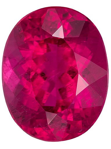 One of A Kind Super Gem  Rubellite Tourmaline Genuine Gemstone, 12.95 carats, Oval Shape, 16.6 x 13.2 mm