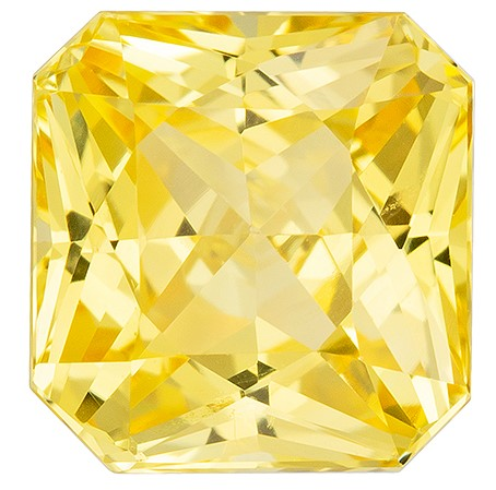 Super Great Buy  Yellow Sapphire Genuine Gemstone, 2.52 carats, Radiant Shape, 6.93 x 6.62 x 5.17 mm  with  Certificate