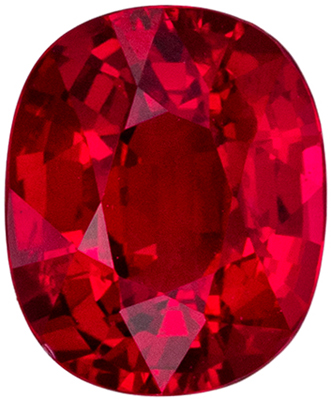Super GRS Certified Ruby Genuine Gemstone, Cushion Cut, Open Rich Red, 7.25 x 5.96 x 4.04 mm, 1.55 carats
