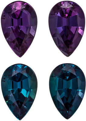 Super High Quality Alexandrite Pear Cut Well Matched Gemstone Pair, Rich Burgundy to Intense Teal, 6.9 x 4.5 x 3.1 mm, 1.28 carats Gubelin Certified