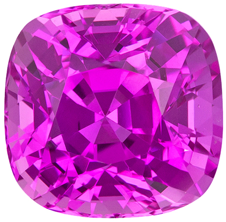 Super Intense GIA Certified Pink Sapphire Gem in Square Cushion Cut, Vivid Intense Pink Color in 6.8 x 6.6 mm, 2.00 carats