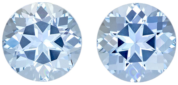Super Lively Aquamarine Well Matched Pair in Round Cut, Medium Pure Blue, 7.5 mm, 3.13 carats
