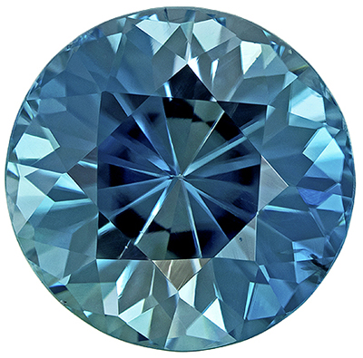 Super Lively, Blue Zircon Loose Gem in Round Cut, 7.2 mm, Rich Teal Blue, 2.14 carats