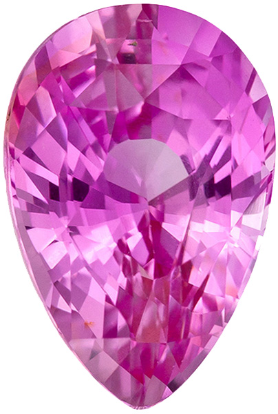 Super Lively Unheated Sapphire Loose Gemstone in Pear Cut, Medium Pure Pink, 8.2 x 5.5 mm, 1.45 carats - GIC Certified