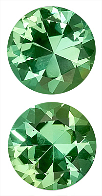 Super Matched Pair! - Sparkling Green Tourmaline Genuine Gemstones for SALE,  Round Cut, 8 x 8 mm, 3.56 carats
