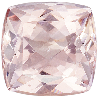 Super Morganite Loose Gem, 6.9 mm, Rich Pure Peach, Cushion Cut, 1.3 carats