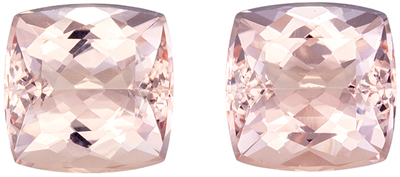 Super Morganite Well Matched Pair, 7.9 mm, Rich Pure Peach, Cushion Cut, 4.38 carats