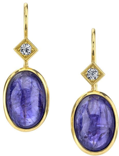 Super Nice 18kt Yellow Gold 21.30ctw Cabochon Tanzanite Dangle Earrings - 0.18ctw Diamond Accents