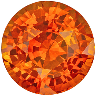 Rare GIA Certified Orange Sapphire Gem, Rich Pure Orange Color in Bright Round Cut, 7.29 x 7.36 x 5.29 mm, 2.26 carats