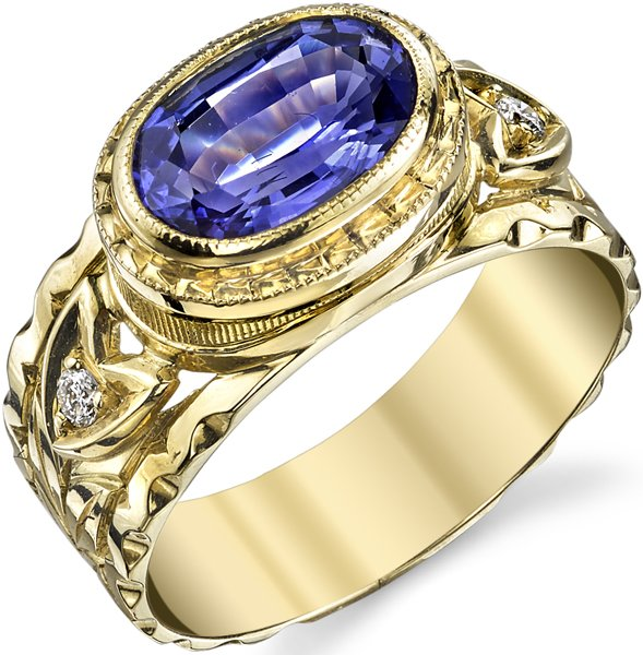 Super Ornate Hand Crafted Ring With 1.64ct Tanzanite Gemstone - Diamond Side Gems
