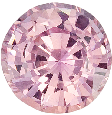 Pretty Pinkish Peach Sapphire Gemstone Round Cut in Medium Pinkish Peach, 6.2 mm, 1.16 carats