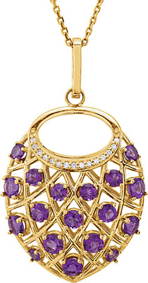 Super Pretty 1.38ct 2-3mm Amethyst Studded Nest Pendant With Diamond Accents for SALE - 18 Round Amethyst Gemstones