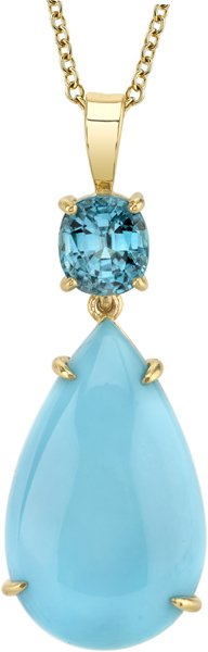 Super Pretty 13.88ct Pear Shape Turquoise Gemstone Pendant With Cushion Blue Zircon - 18kt Yellow Gold
