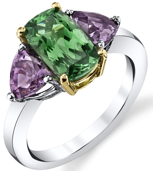 Super Pretty Cushion Tsavorite Garnet Ring With Triangle Cut Purple Spinel Sidegems - 18kt White & Yellow Gold.