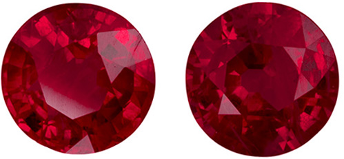 Super Pretty Ruby Well Matched Pair in Round Cut, Vivid Medium Red, 4.8 xmm, 1.1 carats