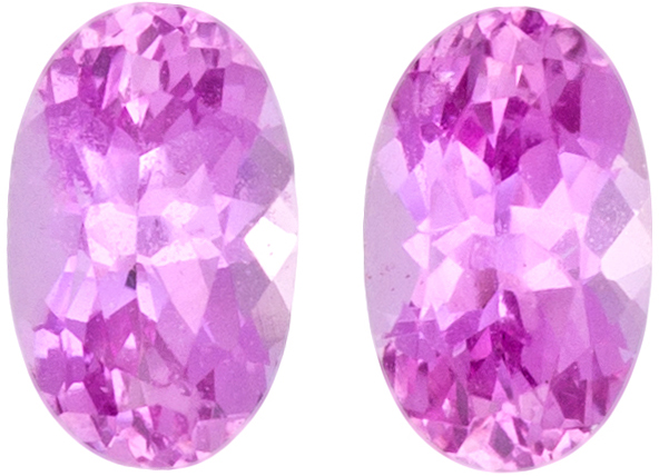 Super Pretty Sapphire Well Matched Pair in Oval Cut in Medium Pink Color, 5 x 3 mm, 0.66 carats