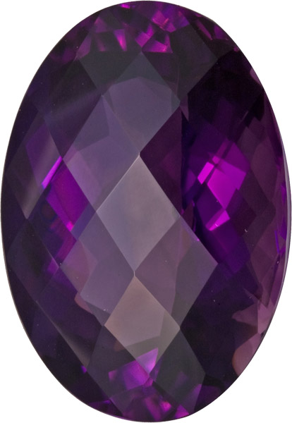 Super Rich Color in Genuine Amethyst Gem in Rose Checkerboard  Cut Oval, German Cut, Purple, 26.5 x 19.0 mm, 40.27 carats