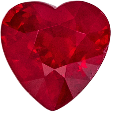Super Ruby Loose Gem, 5.9 mm, Pigeon's Blood Red, Heart Cut, 1.06 carats
