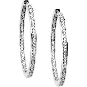 Super Shiny! - Exquisite 5/8 ct tw 1.00 mm Diamond Hoop Earrings skillfully set in 14 karat White Gold for SALE
