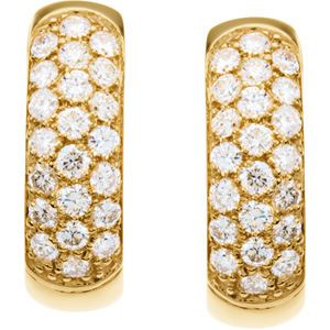 Super Sparkly Diamonds! - Gorgeous 7/8 ct tw 1.70 mm Diamond Hoop Earrings expertly set in 14 karat Yellow Gold for SALE