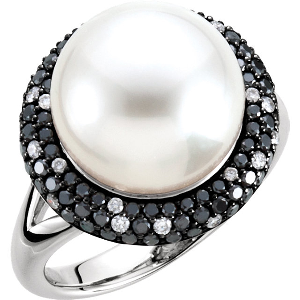 Super Statement Ring With Bold 10ct 11mm South Sea Cultured Pearl - 1/4ct Thick Black & White Diamond Halo