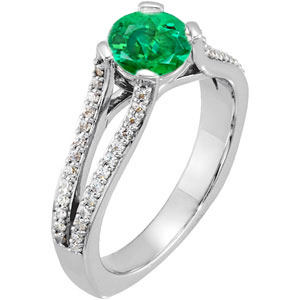 Super Unique Split Shank 4-Prong set with Genuine 1 carat 6mm Emerald Gemstone Engagement Ring - Diamond Accents Along Bands