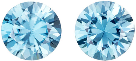 Diamond Like Blue Zircon Matched Pair for Earrings in Round Cut, Teal Tinged Blue Color in 5.01 carats , 8 mm