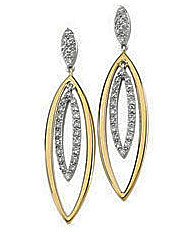 Superb 14k Two Tone Marquise Shape Diamond Cluster Earrings  with Concentric Marquise Hanging Shapes .375 cts