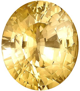 Superb No Heat Yellow Sapphire Genuine Gemstone for SALE, Oval Cut, 13.16 carats