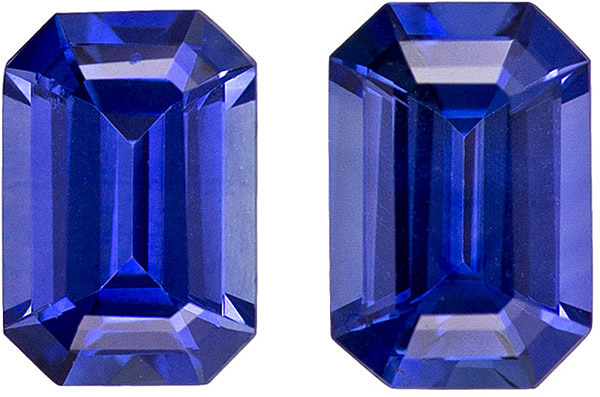 Superb Rich Blue Sapphire Well Matched Pair in Emerald Cut Accent Stones, 6 x 4 mm, 1.18 carats